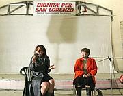 La Valeri sul palco del Palazzo con Sabina Guzzanti (Eidon)