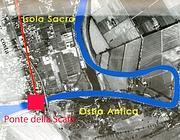 La zona del ritrovamento della nave imperiale e il sito del nuovo ponte
