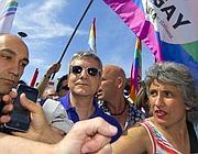 Vendola al corteo con la deputata Pd Paola Concia (foto Photoviews)