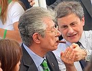Alemanno con Umberto Bossi ai tempi della riappacificazione tra Roma e la Lega (foto Jpeg)