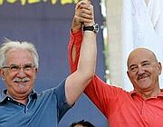 Raffaele Bonanni e Luigi Angeletti a Piazza del popolo (Lapresse)