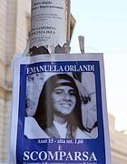 Emanuela Orlandi in un manifesto degli anni '80, fu rapita nell'03 (foto Ansa)