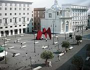 Il rendering del progetto per la nuova piazza, con le panchine-bare (Zanini)