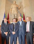 Petrucci, Alemanno, Pescante e Mondello al Campidoglio (foto Ansa)