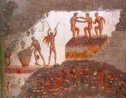 L'affresco della vendemmia trovato nelle Terme di Traiano