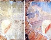 L'affresco della Città ideale prima e dopo il restauro (foto Ansa)