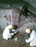 Tecnici al lavoro sul mosaico di Apollo (foto Jpeg/Lanutti)