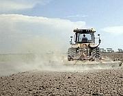 Un trattore al lavoro a Maccarese