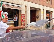 Gabbiano mangia dalle mani di un cuoco in centro a Roma (foto Jpeg)