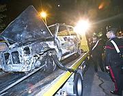 San Basilio, l'auto usata dagli scippatori e poi bruciata  (Eidon)