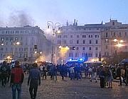 Piazza S.Giovanni dopo gli scontri (foto Guarasci)