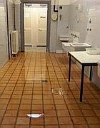 I bagni allagati alla Vittorino da Feltre (foto Ansa)