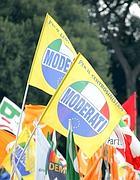 Le bandiere dei moderati (Lapresse)