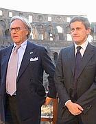 Diego Della Valle al Colosseo con il sindaco Alemanno (Lapresse)
