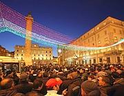 I tassisti in piazza Colonna (foto LaPresse)