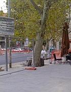 Lavori e cartellone a piazza Santiago del Cile, ai Parioli