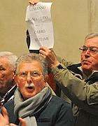 Un momento della protesta nell'aula  Giulio Cesare (Jpeg)