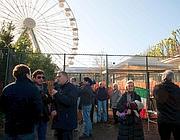Una protesta davanti al cantiere del Luneur (foto Eidon)