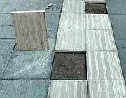 Danni alla pavimentazione in piazza S.Emerenziana