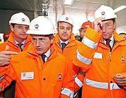 Gianni Alemanno e Gianfranco Fini in visita al cantiere della metro B1 (Jpeg)