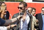 Processo allo sport - Il calciatore Vittorio Micolucci risponde alle domande dei giornalisti in occasione del processo sportivo al Calcioscommesse nell'ex Ostello della Gioventu' del Foro Italico (Foto Ansa)