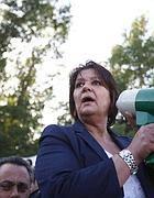 Il sindaco di Riano Marinella Ricceri, al presidio anti discarica (Jpeg)