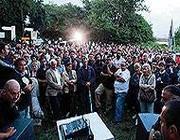 Un momento della protesta dei cittadini di Riano (Eidon)