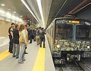 Un vecchio treno della linea B in una nuova stazione della B1 (Proto)