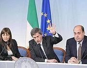 Da sinistra, Polverini, Alemanno e Zingaretti