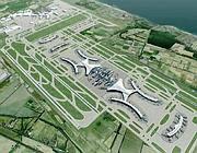 Un rendering del progetto di ampliamento di aerostazione e piste a Fiumicino