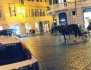 I controlli dei vigili in piazza di Spagna dopo il malore del cavallo (Jpeg)