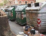 Rifiuti fuori dai cassonetti strapieni a Roma