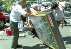 Giù il cartellone - Difendere gli alberi dall'attacco aggressivo dei cartelloni pubblicitari. Nelle strade di Roma, sempre più spesso, gli alberi vengono tagliati per fare posto ai pannelli per i manifesti, o potati in modo tale da non coprire le pubblicità. Martedì 31 luglio, in mattinata, il blitz a tutela del verde pubblico. «Stavolta siamo stati noi ad abbattere un cartellone che minacciava la crescita di un albero», spiega il consigliere comunale del Pd Athos De Luca, vicepresidente della commissione Ambiente di Roma Capitale. «In via della Circonvallazione Gianicolense, assieme all'associazione Respiro verde legalberi, e con il sostegno di tanti cittadini romani - spiega ancora De Luca - abbiamo segato un cartellone pubblicitario. La pianta, infatti, era stata capitozzata, proprio per dare maggiore visibilità al pannello». Nei giorni scorsi, sempre De Luca assieme al comitato di quartiere Serpentara, avevano messo a dimora otto nuovi alberi in via Tina Pica, al posto di quelli tagliati in precedenza per lasciare spazio ai cartelloni della pubblicità.