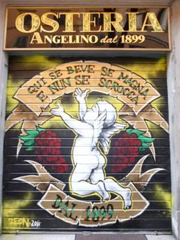 La saracinesca della Osteria da Angelino