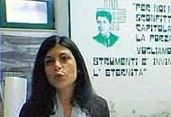 Chiara Colosimo, due anni fa, in una sezione del Msi  con l'immagine di Corneliu Zelea Codreanu, fondatore del movimento nazista romeno della Guardia di ferro