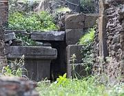 Il muro fatto costruire da Augusto vicino al luogo dove forse si trovava lo scranno di Cesare (Jpeg)