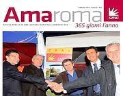 Una copertina della rivista aziendale. Il secondo da destra è Alessandro Bonfigli (Cisl)