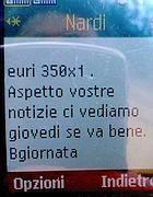 La seconda parte dell'sms che chiede un «pensiero» per il dirigente Bonfigli