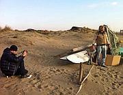 Durante le riprese sulla spiaggia