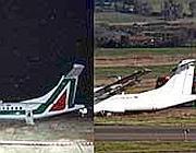 L'Atr 72 fuori pista a Fiumicino prima e dopo  cancellazione logo Alitalia (Ansa)
