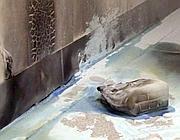 La tanica di benzina rimasta a terra dopo il tragico gesto
