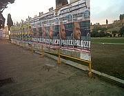 Una serie di plance deturpa il Circo Massimo (foto Italia Nostra)