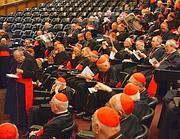 Cardinali nell'aula del sinodo (Ansa)