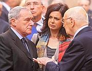 Napolitano con Boldrini e Grasso in via Caetani (foto Jpeg)