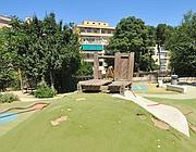 Lo scivolo disastrato di Villa Chigi (foto D'Oro)