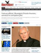 La notizia dell' arresto di monsignor Scarano sul sito dell'Independent