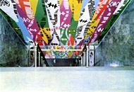 I dipinti di Capogrossi sul soffitto del cinema Airone