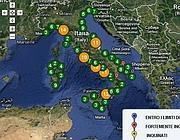 La mappa delle aree inquinate realizzata da Goletta Verde (clicca qui per ingrandire)