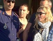 Madonna il 19 agosto, al suo arrivo a Ciampino (Ansa)