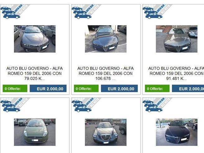 Auto blu, nuova asta onlineIn vendita 33 vetture della Difesa